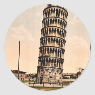 The Leaning Tower Pisa Italy classic Photochrom Round Sticker