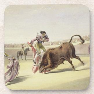 The Leap or Salta Tras Cuernos, 1865 (colour litho Beverage Coaster