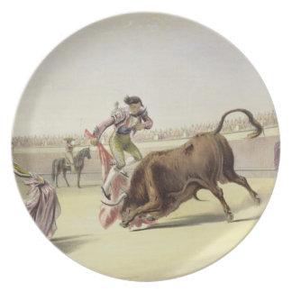The Leap or Salta Tras Cuernos, 1865 (colour litho Melamine Plate
