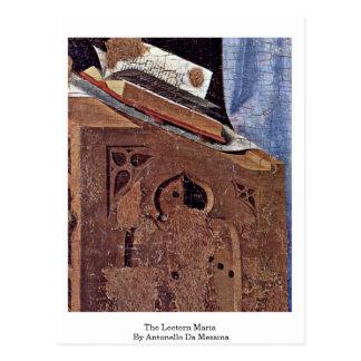 The Lectern Maria By Antonello Da Messina Postcard