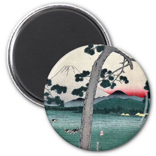 The left side of the Tokaido by Ando,Hiroshige 2 Inch Round Magnet