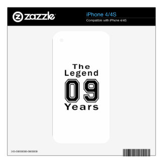 The Legend 09 Years Birthday Gifts iPhone 4S Decals