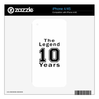 The Legend 10 Years Birthday Gifts iPhone 4 Decal