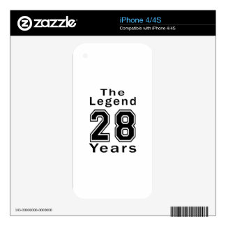 The Legend 28 Years Birthday Gifts Decal For iPhone 4
