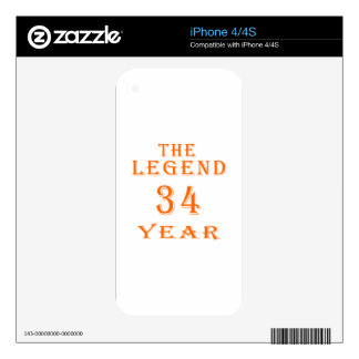 The Legend 34 Year iPhone 4S Decal