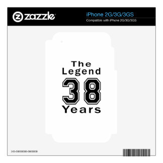 The Legend 38 Years Birthday Gifts Decals For The iPhone 3