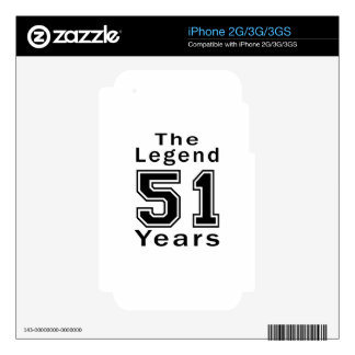 The Legend 51 Years Birthday Gifts Skin For The iPhone 3
