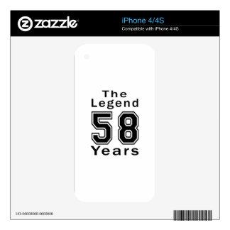 The Legend 58 Years Birthday Gifts iPhone 4 Skin