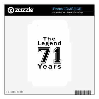 The Legend 71 Years Birthday Gifts iPhone 2G Decals