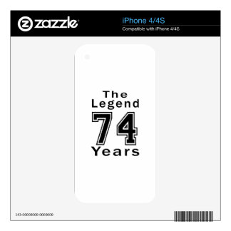 The Legend 74 Years Birthday Gifts iPhone 4 Decal