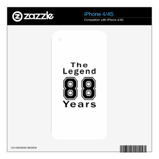 The Legend 88 Years Birthday Gifts Skins For The iPhone 4