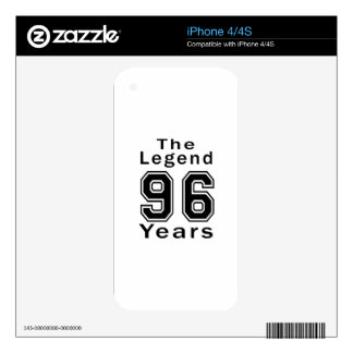 The Legend 96 Years Birthday Gifts iPhone 4 Skins