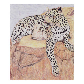 The Leopard And The Baby Goat Print