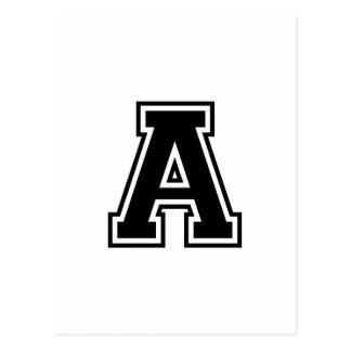 The Letter A, Collegiate Alphabet Postcard