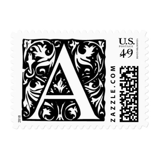 The letter A monogram postage stamps