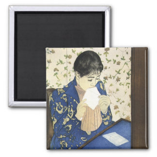 The Letter by Mary Cassatt, Vintage Impressionism 2 Inch Square Magnet