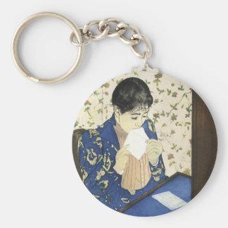 The Letter by Mary Cassatt, Vintage Impressionism Basic Round Button Keychain