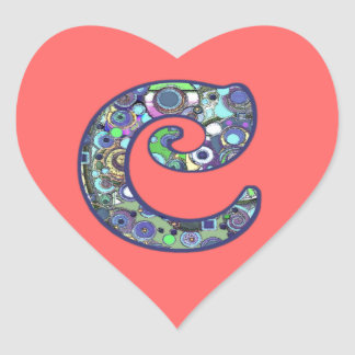 The Letter C Heart Sticker