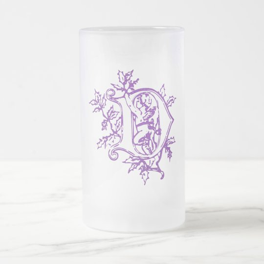 The letter D with Angel Frosted Glass Beer Mug