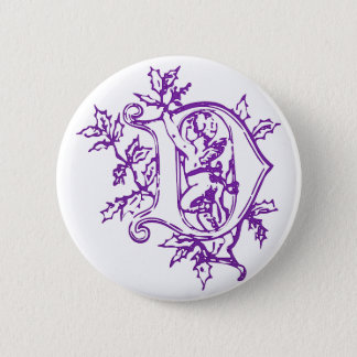The letter D with Angel Pinback Button