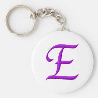 The letter E Basic Round Button Keychain