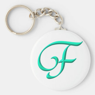 The letter F Basic Round Button Keychain