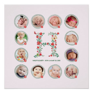 The Letter H | First Year Photo Collage Keepsake Poster