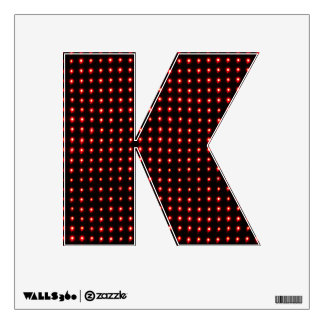 The Letter K Initial - Red Neon Light Bulbs Wall Decal