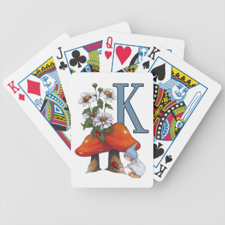 The Letter K, INITIAL, Toadstools, Gnome, Ladybug Bicycle Playing Cards