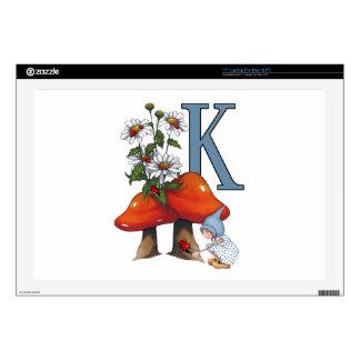 The Letter K, INITIAL, Toadstools, Gnome, Ladybug Laptop Skins