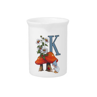 The Letter K, INITIAL, Toadstools, Gnome, Ladybug Pitchers