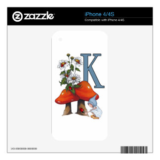 The Letter K, INITIAL, Toadstools, Gnome, Ladybug Skin For The iPhone 4S