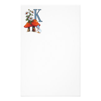 The Letter K, INITIAL, Toadstools, Gnome, Ladybug Stationery