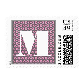 The Letter M Monogram - Pink Flowered Background Stamp