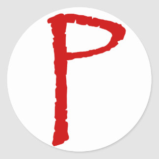 The letter P in red Papyrus font Classic Round Sticker