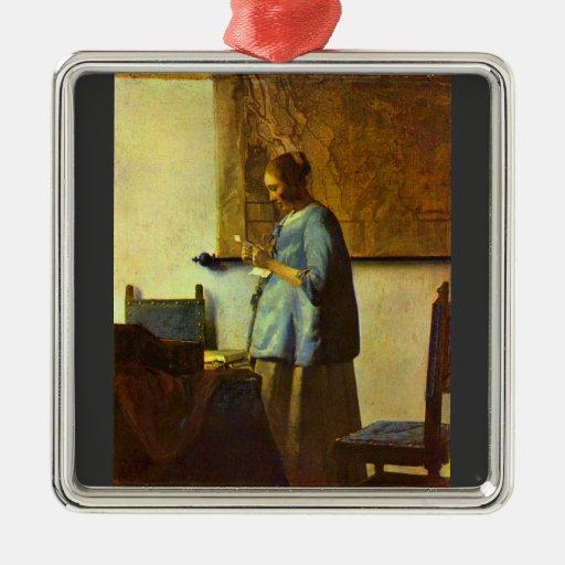 The letter reader by Johannes Vermeer Christmas Tree Ornament