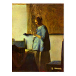 The letter reader by Johannes Vermeer Post Cards
