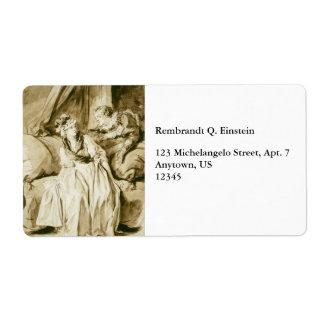 The Letter (Spanish Conversation) by Fragonard Label