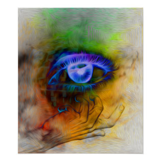the levitating eye of blue glowing glory poster