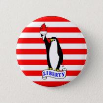 The Liberty Penguin Flag Button