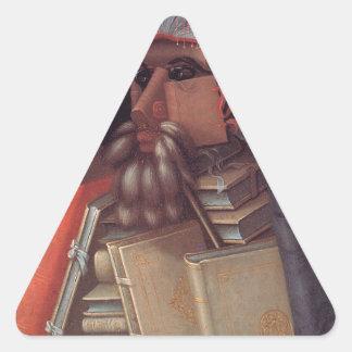 The Librarian by Giuseppe Arcimboldo Triangle Sticker