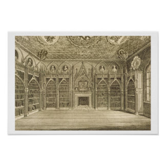 The Library, engraved by Godfrey, from 'Descriptio Poster