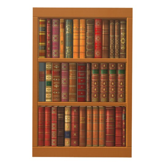 The library of classical books wood wall art | Zazzle.com