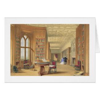 The Library, Windsor Castle, 1838 (colour litho) Card
