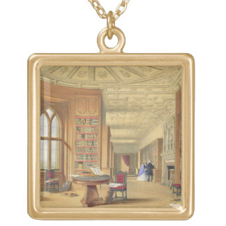 The Library, Windsor Castle, 1838 (colour litho) Gold Plated Necklace