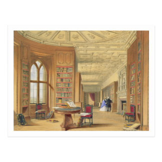 The Library, Windsor Castle, 1838 (colour litho) Postcard