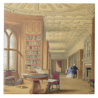 The Library, Windsor Castle, 1838 (colour litho) Tile