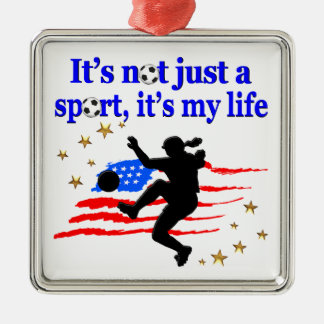 THE LIFE OF A USA SOCCER PLAYER DESIGN METAL ORNAMENT