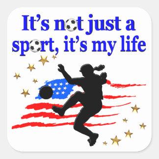 THE LIFE OF A USA SOCCER PLAYER DESIGN SQUARE STICKER