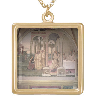 The Life of St. Benedict (fresco) (detail) 3 Gold Plated Necklace
